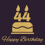 The birthday cake with candles in the form of number 44 icon. Birthday symbol. Gold sparkles and glitter. Vector illustration Stock Image