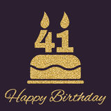 The birthday cake with candles in the form of number 41 icon. Birthday symbol. Gold sparkles and glitter Stock Image