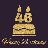 The birthday cake with candles in the form of number 46 icon. Birthday symbol. Gold sparkles and glitter. Vector illustration Royalty Free Stock Photo