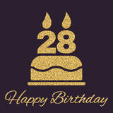 The birthday cake with candles in the form of number 28 icon. Birthday symbol. Gold sparkles and glitter Stock Photography