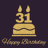 The birthday cake with candles in the form of number 31 icon. Birthday symbol. Gold sparkles and glitter. Vector illustration Royalty Free Stock Image