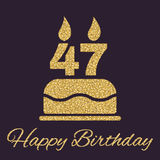 The birthday cake with candles in the form of number 47 icon. Birthday symbol. Gold sparkles and glitter. Vector illustration Royalty Free Stock Photo
