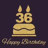 The birthday cake with candles in the form of number 36 icon. Birthday symbol. Gold sparkles and glitter. Vector illustration Royalty Free Stock Photo