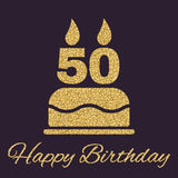 The birthday cake with candles in the form of number 50 icon. Birthday symbol. Gold sparkles and glitter. Vector illustration Royalty Free Illustration