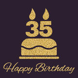 The birthday cake with candles in the form of number 35 icon. Birthday symbol. Gold sparkles and glitter. Vector illustration Royalty Free Stock Photography