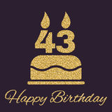 The birthday cake with candles in the form of number 43 icon. Birthday symbol. Gold sparkles and glitter. Vector illustration Stock Photo