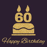The birthday cake with candles in the form of number 60 icon. Birthday symbol. Gold sparkles and glitter. Vector illustration Royalty Free Stock Photo