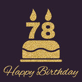 The birthday cake with candles in the form of number 78 icon. Birthday symbol. Gold sparkles and glitter Royalty Free Stock Images