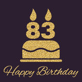 The birthday cake with candles in the form of number 83 icon. Birthday symbol. Gold sparkles and glitter Royalty Free Stock Photos