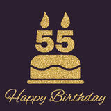 The birthday cake with candles in the form of number 55 icon. Birthday symbol. Gold sparkles and glitter. Vector illustration Royalty Free Stock Photos