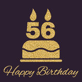 The birthday cake with candles in the form of number 56 icon. Birthday symbol. Gold sparkles and glitter. Vector illustration Stock Photos