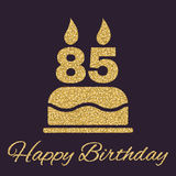 The birthday cake with candles in the form of number 85 icon. Birthday symbol. Gold sparkles and glitter Royalty Free Stock Photography