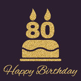 The birthday cake with candles in the form of number 80 icon. Birthday symbol. Gold sparkles and glitter. Vector illustration Stock Illustration