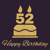 The birthday cake with candles in the form of number 52 icon. Birthday symbol. Gold sparkles and glitter. Vector illustration Royalty Free Stock Photo