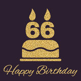 The birthday cake with candles in the form of number 66 icon. Birthday symbol. Gold sparkles and glitter. Vector illustration Stock Photos