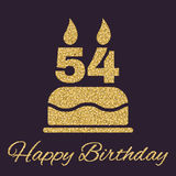 The birthday cake with candles in the form of number 54 icon. Birthday symbol. Gold sparkles and glitter. Vector illustration Stock Photography
