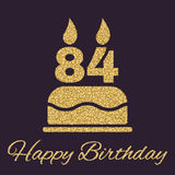 The birthday cake with candles in the form of number 84 icon. Birthday symbol. Gold sparkles and glitter. Vector illustration Stock Images