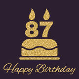 The birthday cake with candles in the form of number 87 icon. Birthday symbol. Gold sparkles and glitter Royalty Free Stock Photo