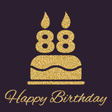 The birthday cake with candles in the form of number 88 icon. Birthday symbol. Gold sparkles and glitter Stock Photography