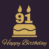 The birthday cake with candles in the form of number 91 icon. Birthday symbol. Gold sparkles and glitter. Vector illustration Stock Illustration
