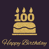 The birthday cake with candles in the form of number 100 icon. Birthday symbol. Gold sparkles and glitter. Vector illustration Royalty Free Stock Photos