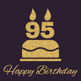 The birthday cake with candles in the form of number 95 icon. Birthday symbol. Gold sparkles and glitter Royalty Free Stock Photos
