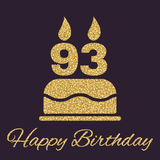 The birthday cake with candles in the form of number 93 icon. Birthday symbol. Gold sparkles and glitter. Vector illustration stock illustration