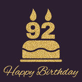 The birthday cake with candles in the form of number 92 icon. Birthday symbol. Gold sparkles and glitter. Vector illustration Stock Photos