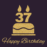 The birthday cake with candles in the form of number 37 icon. Birthday symbol. Gold sparkles and glitter Royalty Free Stock Image