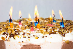 Birthday cake. candles happy birthday bakery product Royalty Free Stock Images
