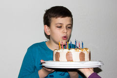 Birthday cake. candles happy birthday boy congratulation child Stock Photography