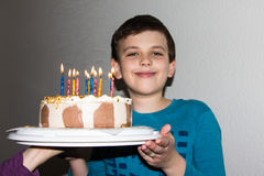 Birthday cake. candles happy birthday boy congratulation Stock Photos