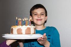 Birthday cake. candles happy birthday boy congratulation Stock Photos