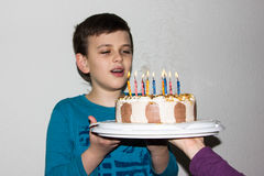 Birthday cake. candles happy birthday boy congratulation Royalty Free Stock Photography