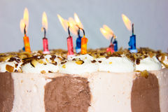 Birthday cake. candles happy birthday congratulation Stock Image