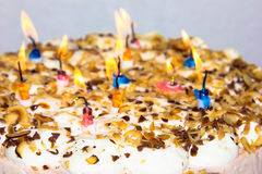Birthday cake. candles hppy birthday bakery product Stock Images