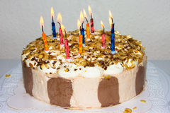 Birthday cake. candles hppy birthday bakery product Stock Photography