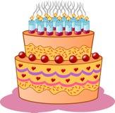 Birthday, Cake, Candles, Icing Stock Image