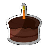 Birthday cake with candles icon image. Chocolate birthday cake with candles icon image sticker  illustration design Royalty Free Stock Photos