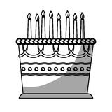 Birthday cake with candles icon image. Illustration design Stock Images