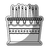 Birthday cake with candles icon image. Sticker  illustration design Stock Photography