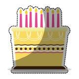 Birthday cake with candles icon image. Sticker  illustration design Stock Image