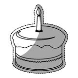 Birthday cake with candles icon image. Sticker  illustration design Royalty Free Stock Images