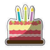 Birthday cake with candles icon image. Strawberry birthday cake with candles icon image sticker  illustration design Royalty Free Stock Photography