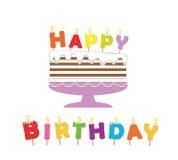 birthday cake candles illustration vector Αυτοκόλλητη ετικέττα διακοπής εγγράφου Στοκ Φωτογραφίες