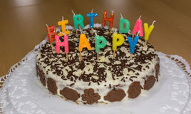 birthday cake candles illustration vector γενέθλια ευτυχή Στοκ εικόνα με δικαίωμα ελεύθερης χρήσης