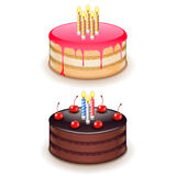 Birthday cake with candles isolated on white vector. Birthday cake with candles isolated on white photo-realistic vector illustration vector illustration