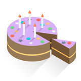 Birthday Cake and Candles Stock Photography