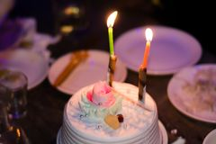 Birthday cake candles. Light up the evening Royalty Free Stock Photo