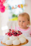 Birthday Cake With Candles for Little Girl Stock Image